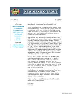 Newsletter - December 2010