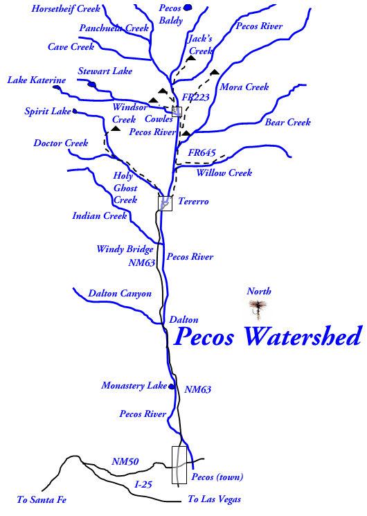 Pecos river new mexico trout for Trout fishing new mexico map